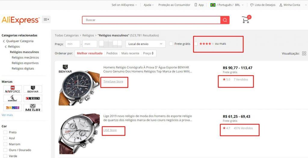 Imagem mostrando como filtrar produtos com segurança no aliexpress